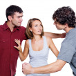 Men fight for the woman — Stockfoto