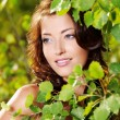 Beautiful face of the sexy woman on the nature — Stock fotografie