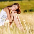 Beautiful sexy caucasian woman on meadow — Stock Photo