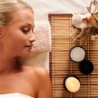 Young beautiful woman recreation in spa salon - Stockfoto