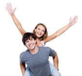 Happy with the hands lifted upwards — Stock Photo