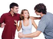 Los hombres luchan por la mujer — Foto de Stock