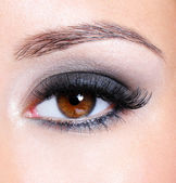 Eye with dark brown glamour make-up — Stock Photo