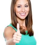 mulher mostrando um polegar para — Foto Stock