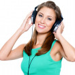 Happy woman with headphones — Stock Photo #3816054
