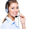 Happy woman in headset — Stock Photo