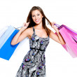 Happy woman with shopping bags — 图库照片
