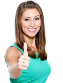 Woman showing a thumbs up — Stock Photo