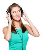 Happy woman with headphones — Stock Photo