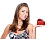 Happy woman with present — Stock Photo