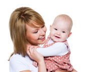 Beautiful happy mother with baby — Stock Photo