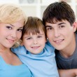 Happy smiling family with son — Stock Photo