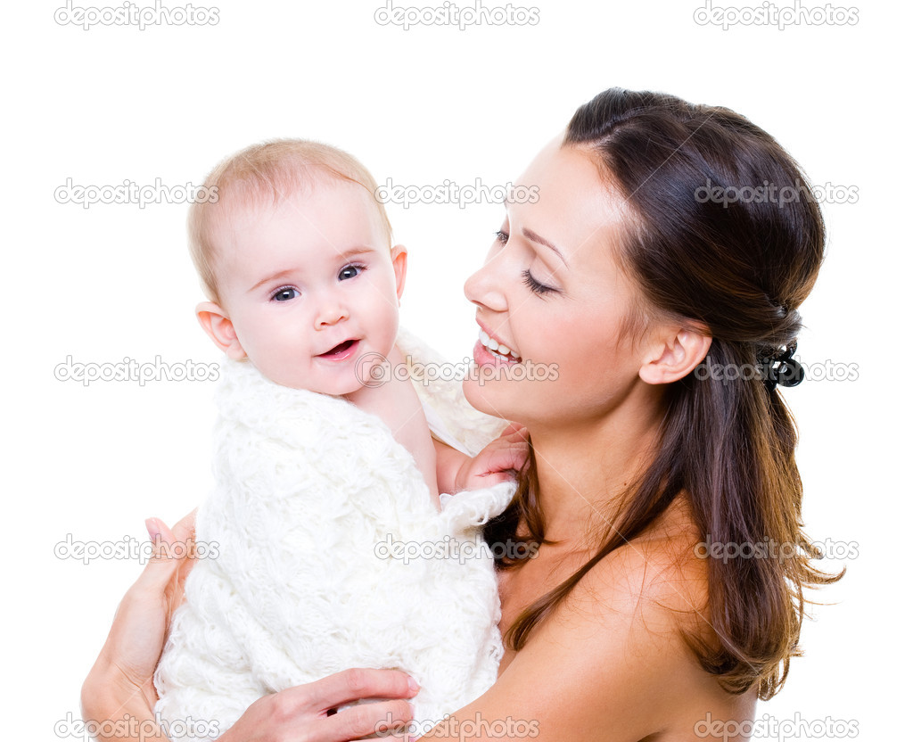 Portrait of a beautiful happy mother with smiling baby  isolated on white  Stock Photo #3830380