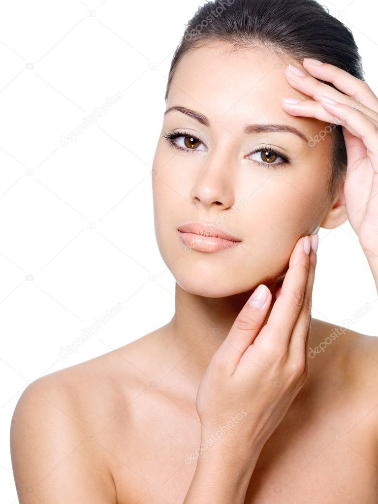 Beauty face of beautiful woman with clean fresh skin - isolated  Stock Photo #3840770