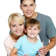 Happy young family with son of 6 years — Foto Stock