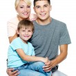Happy young family with son of 6 years — Foto de Stock