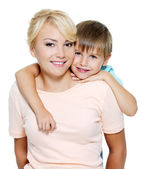 Happy mother and son of six years — Stock Photo