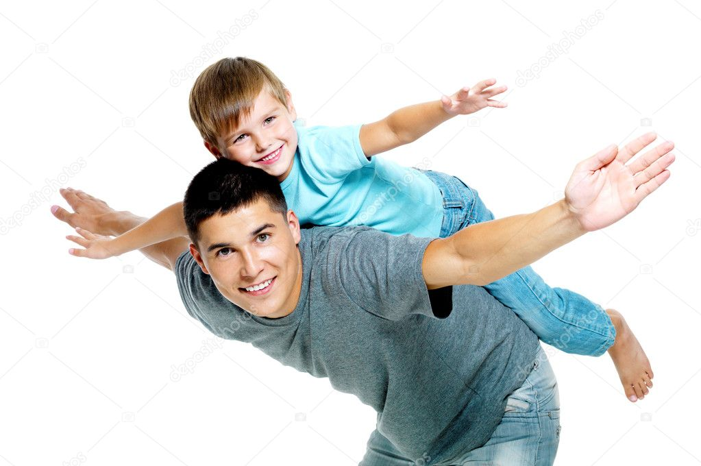 Happy portrait of the father and son of six years. Isolated on white — Stock Photo #3907100