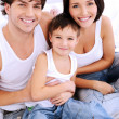 High angle portrait of the happy family — Stock Photo #3913318