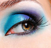Glamour creative blue eye makeup — Stock Photo
