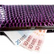 Purse with euro banknotes — Stock Photo