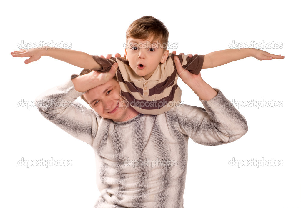 Portrait of loving father and his child cuddling on white background. Beautiful caucasian models. — Stock Photo #2753748