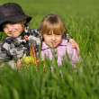 Little boy and girl in field — Stock Photo