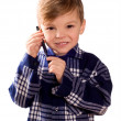 Stock Photo: Boy and cell phone