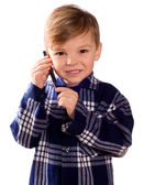Boy and cell phone — Stock Photo