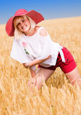 Kvinna med hatt — Stockfoto