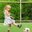 Girl with soccer ball — Foto de Stock