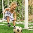 Girl with soccer ball — Stok fotoğraf