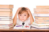 Boy with books — Stock Photo