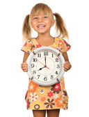 Child with clock — Stockfoto