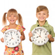 Child with clock — Stock Photo