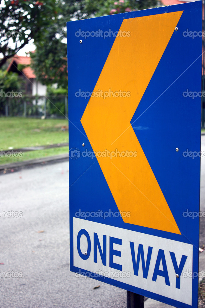 Sign board showing a one way sign. — Stock Photo #3029257