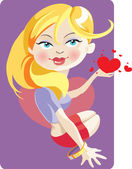 Girl with a heart — Stock Vector