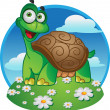 Smiling fun tortoise on color background — Stock Vector