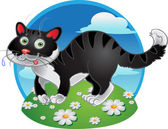 Black fun cat on color background — Stock Vector
