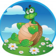 Fun Tortoise on color background — Stock Vector