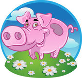 Funny pink pig on color background — Stock Vector