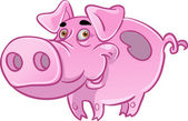 Funny pink pig — Stock Vector