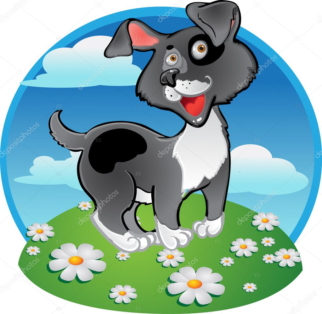 Fun black dog on color background — Stock Vector #2970605