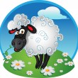 Sheep with blade of grass on color background — Stock Vector