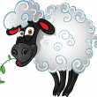 Sheep with blade of grass — Stock Vector