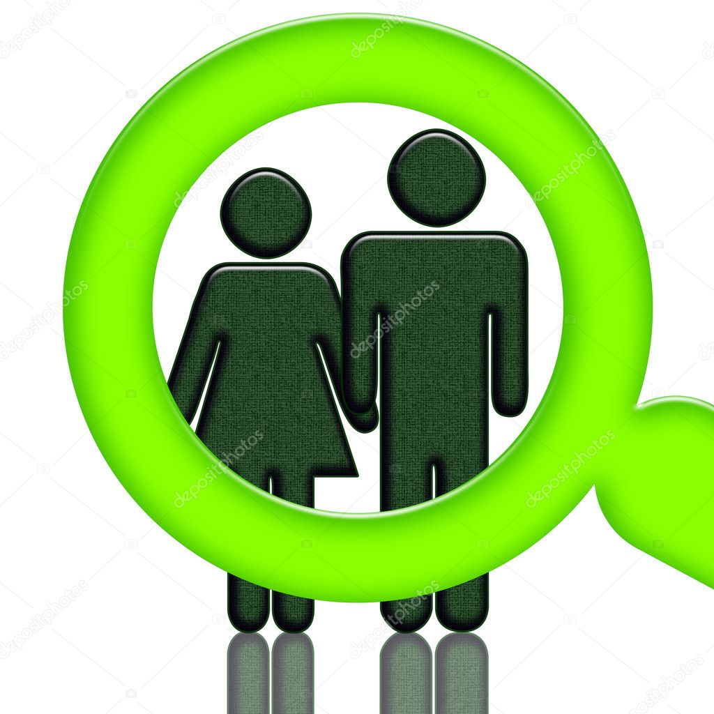 Green magnifier investigating , woman and man  holding hands, illustration isolated over white background — Stock Photo #2712609