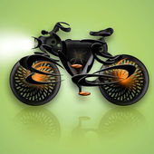Black Flame Styled Bicycle — Stock Photo