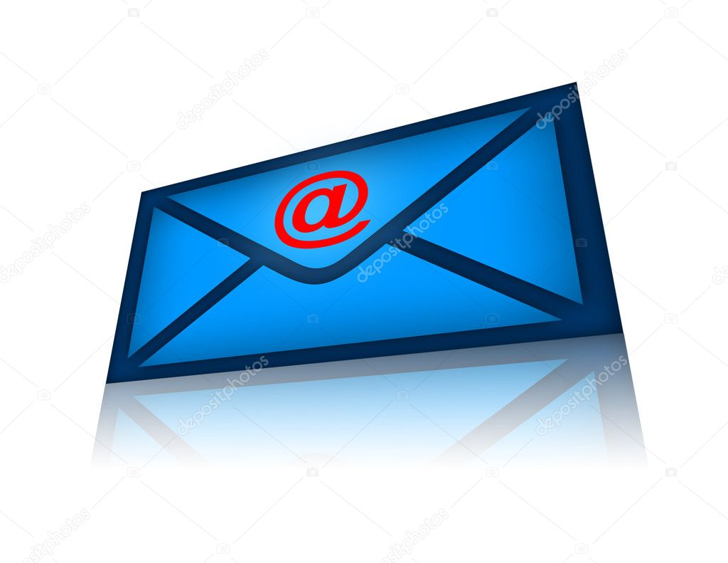 Email blue envelope over white background — Stock Photo #3731986