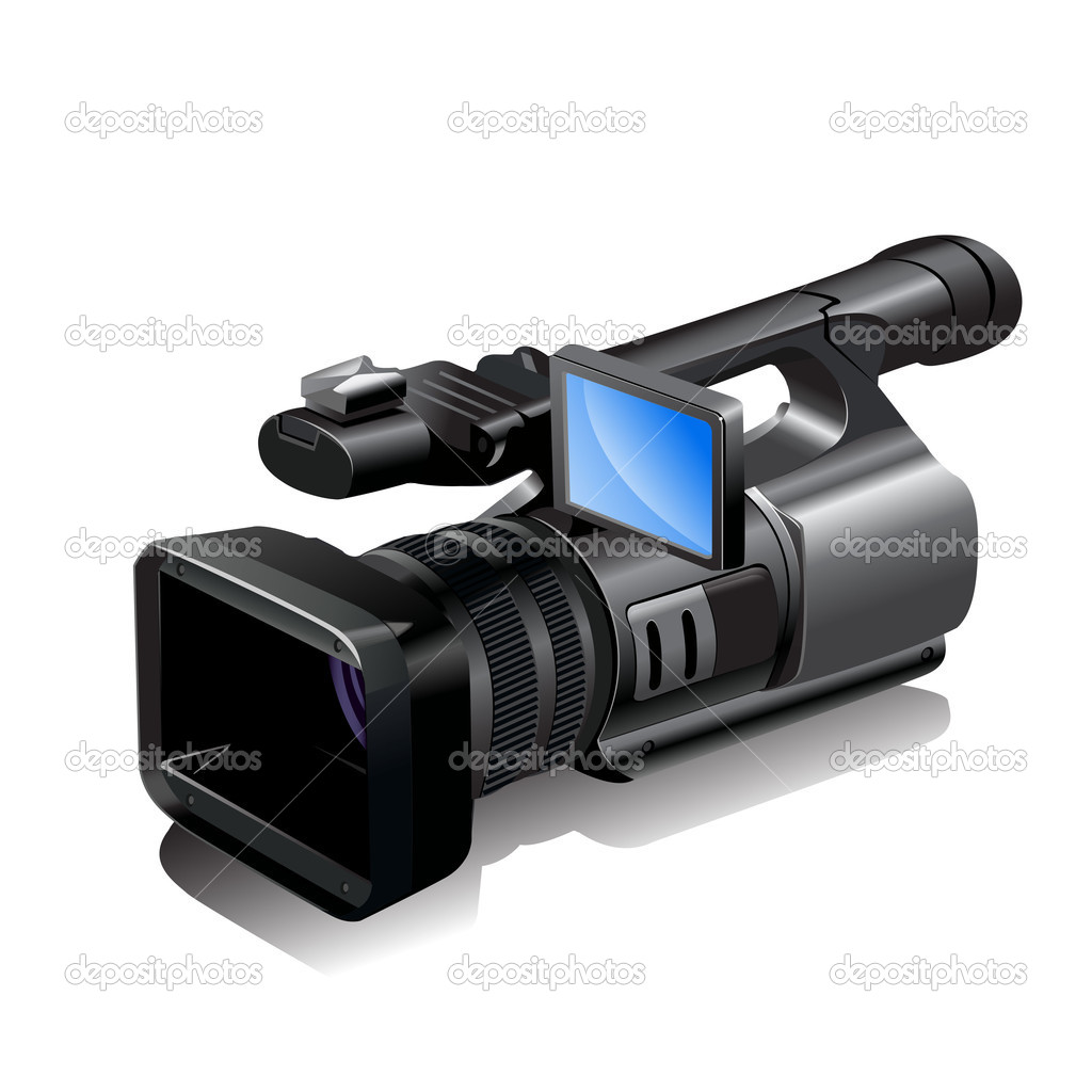 Illustration, insulated object video camera on white background — Stock Vector #2741017