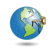 Key in globe — Stock Vector